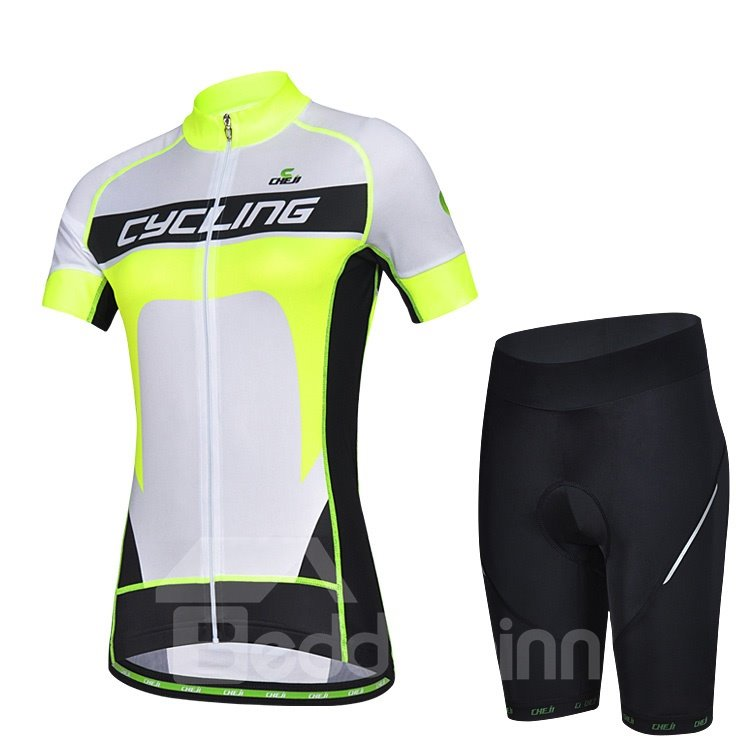 Female Fluorescence Yellow Breathable Jersey with Zipper Sponged Cycling Suit