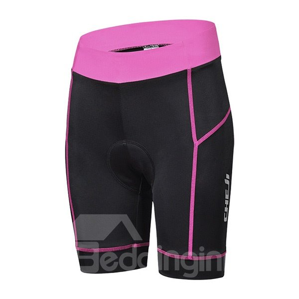 Female Pink and White Simple Bike Jersey with Zipper Sponged Short Cycling Suit