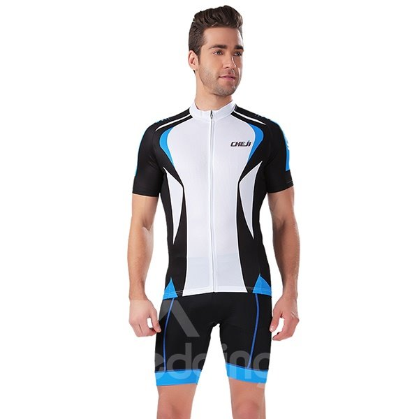 Male White Breathable Bicycle Cloth Sponged 3D Padded Cycling Suit