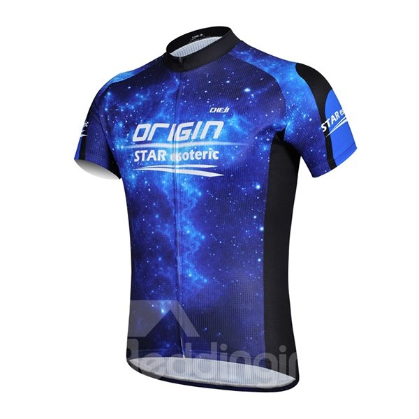 Male Galaxy Pattern Road Bike Breathable Quick-Dry Sponged Cycling Suit