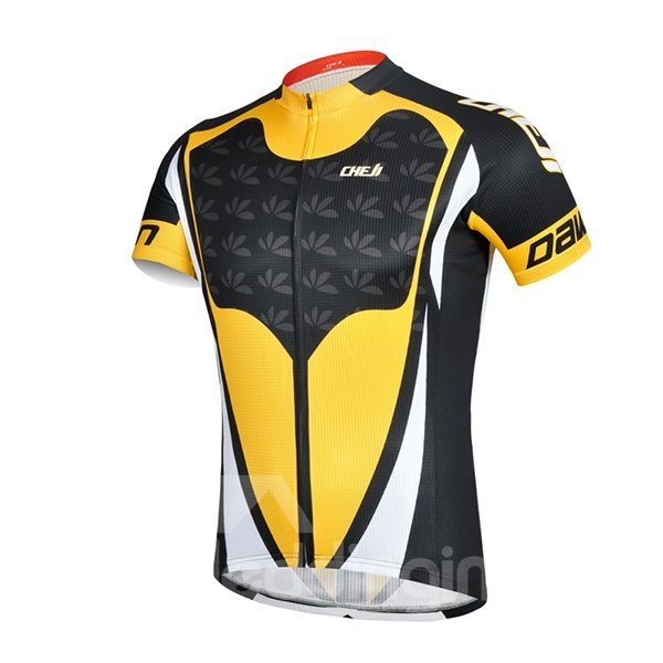 Male Yellow and Black Cool Road Bike Jersey with Zipper Sponged Cycling Suit