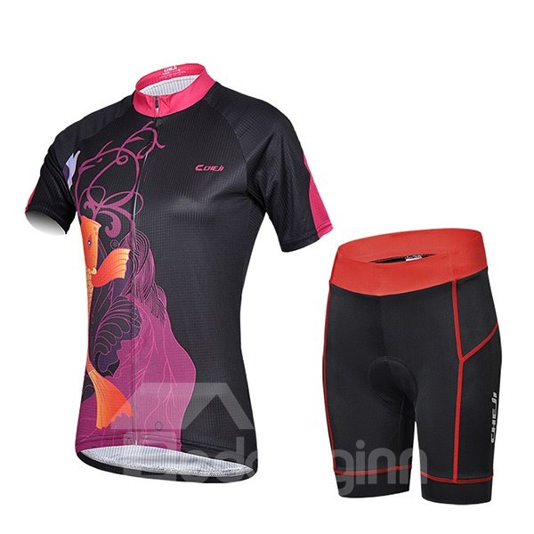 Female Black Road Bike Crap Pattern Jersey with Zipper Sponged Cycling Suit
