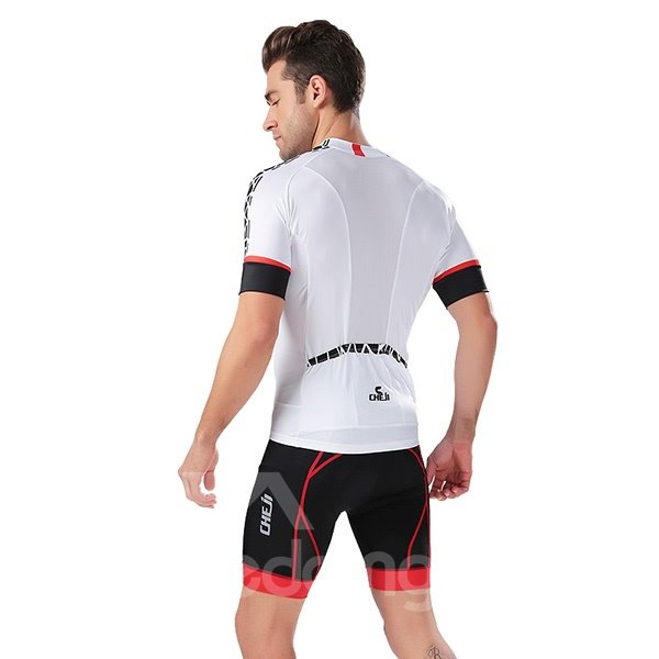 Male White Breathable Jersey with Zipper Sponged Short Cycling Suit
