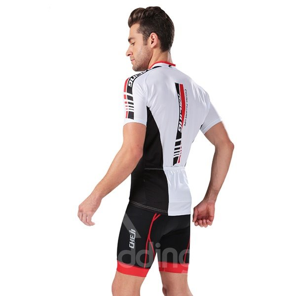 Male Modern Breathable Bike Jersey with Zipper 3D Padded Short Cycling Suit