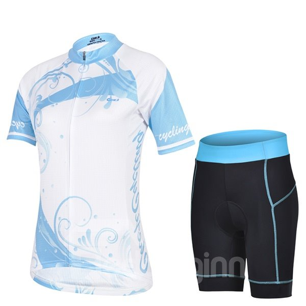 Female Blue Road Bike Breathable Quick Dry Sponged Short Short Sleeve Cycling Suit