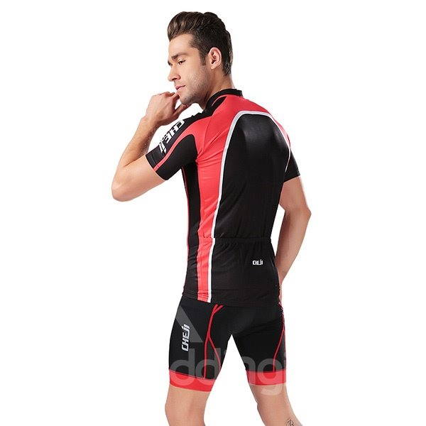 Male Black and Red Breathable Jersey with Zipper Bike Sponged Short Cycling Suit