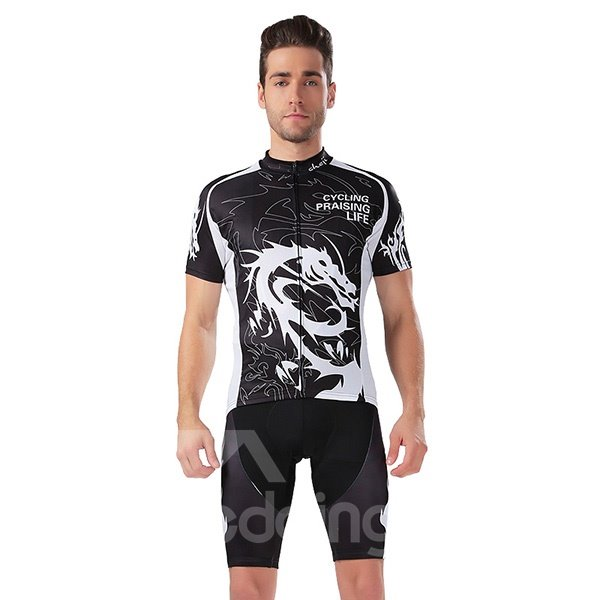 Male Dragon Pattern Jersey with Zipper Sponged Bike 3D Padded Cycling Suit