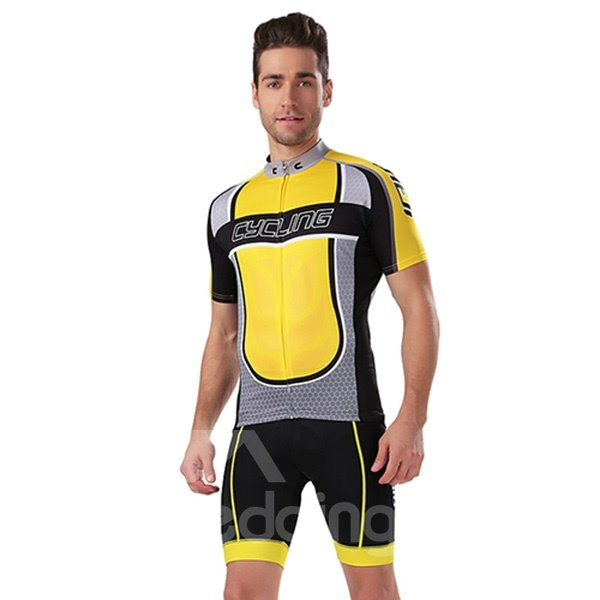 Male Bicycle Sponged Jersey with Zipper Polyester 3D Padded Cycling Suit