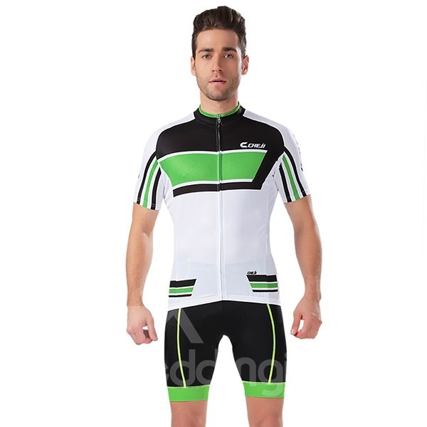 Male Breathable Road Bike Jersey with Zipper 3D Padded Short Cycling Suit