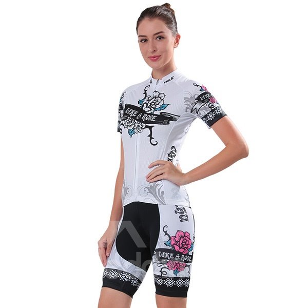Female Black Rose Breathable Bike Jersey with Zipper Sponged Short Cycling Suit