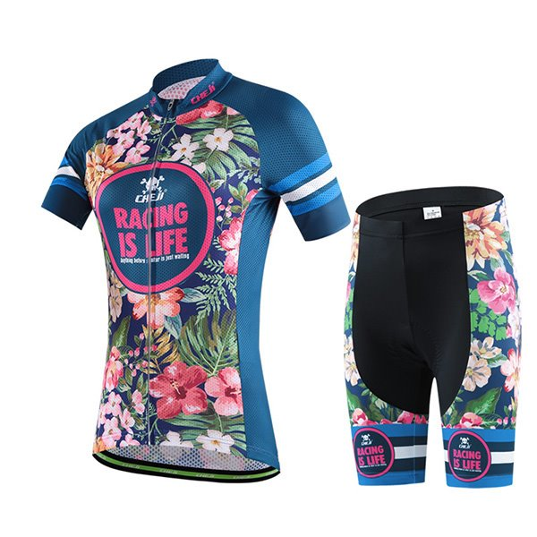 bc7f378ee 70 Female Tropical Vintage Flowers Breathable Bike Jersey with Zipper  Sponged Cycling Suit