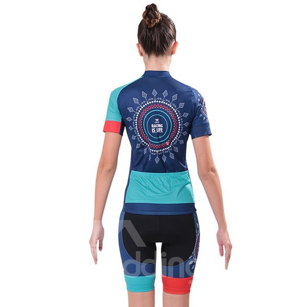 Female Medallion Exotic Blue Bike Jersey with Zipper Sponged Cycling Suit