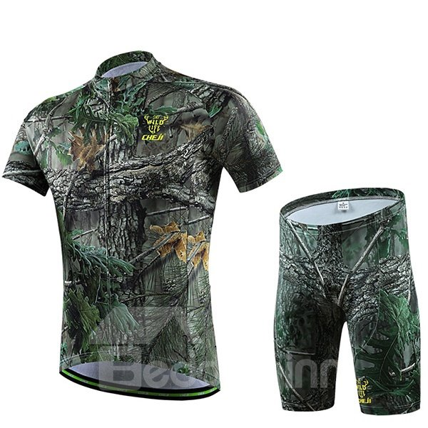 Male Camouflage Green Breathable Bike Jersey with Zipper Short Cycling Suit