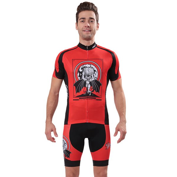 Male Red Hand Painted Devil Breathable Jersey with Zipper Sponged Short Cycling Suit