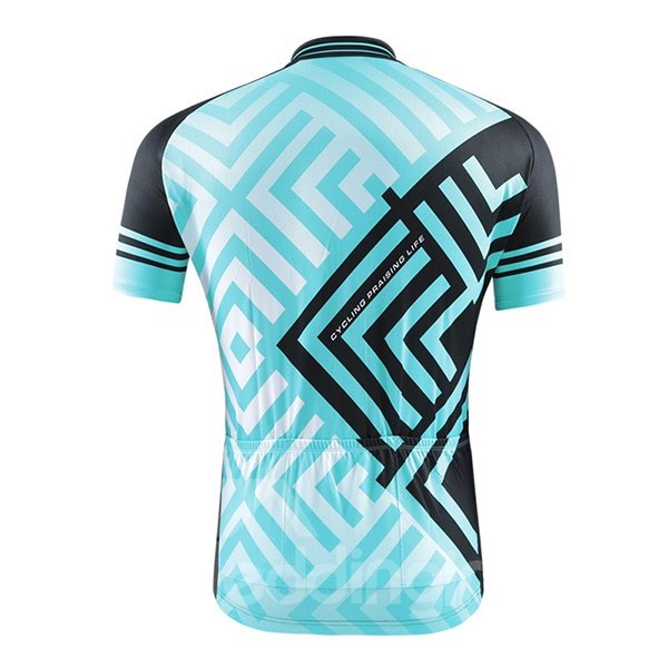 Male Grid Breathable Jersey with Zipper Sponged Short Sleeve Cycling Suit