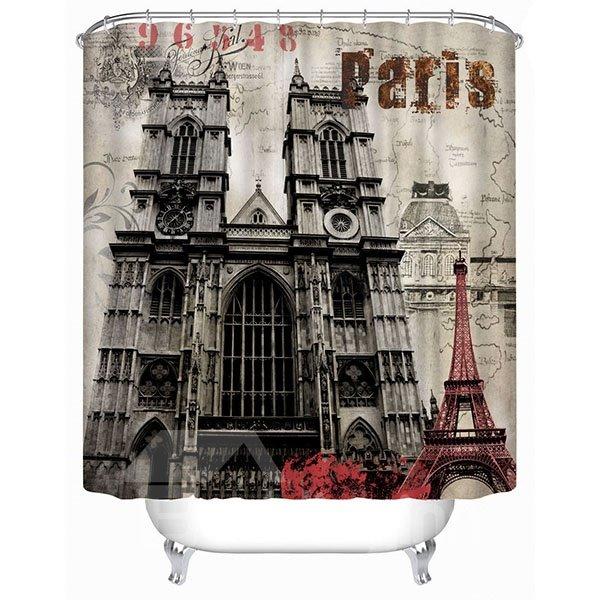 Classic London Westminster Abbey Print 4D Bathroom Shower Curtain