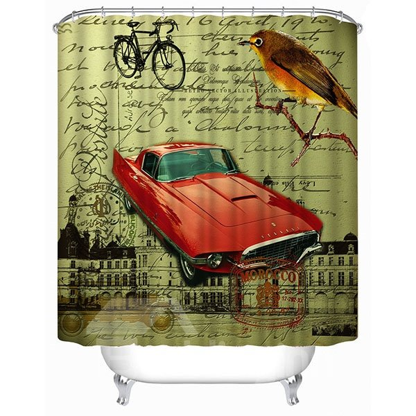 Classic Red Car Print 3D Bathroom Shower Curtain