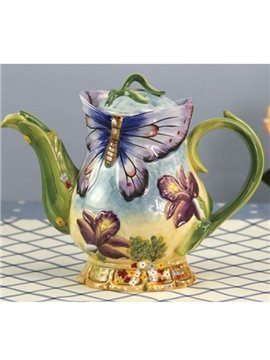 Amazing European Style Ceramic Butterfly Teapot Painted Pottery