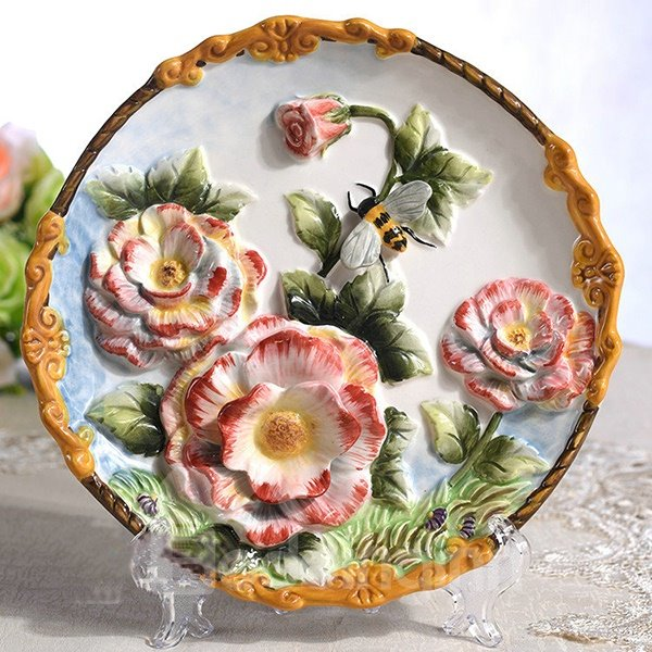 Creative Ceramic Roses Pattern Plate Desktop Decoration Painted Pottery