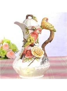 Delicate Ceramic Parrot Pattern Coffee Pot Painted Pottery