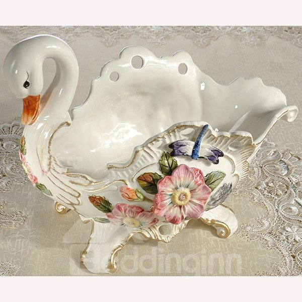 White Ceramic Flower Goose Shape Fruit Plate Painted Pottery