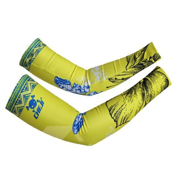 Male Yellow Sleeve with Blue Butterfly Cycling UV Protection Cooling Arm Sleeve