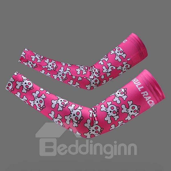 Female Pink Skull UV Protection Sleeve for Cycling Hiking Golf Cooling Arm Sleeve