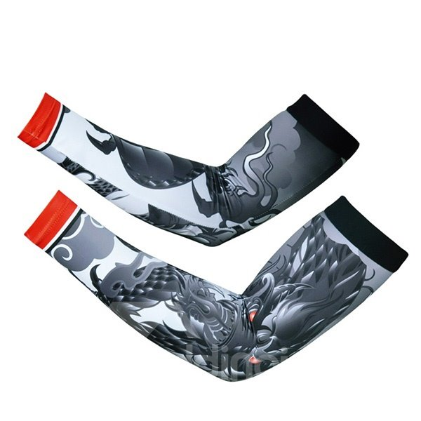 Unisex Dragon Pattern Black and White Breathable UV Protection Cooling Arm Sleeve