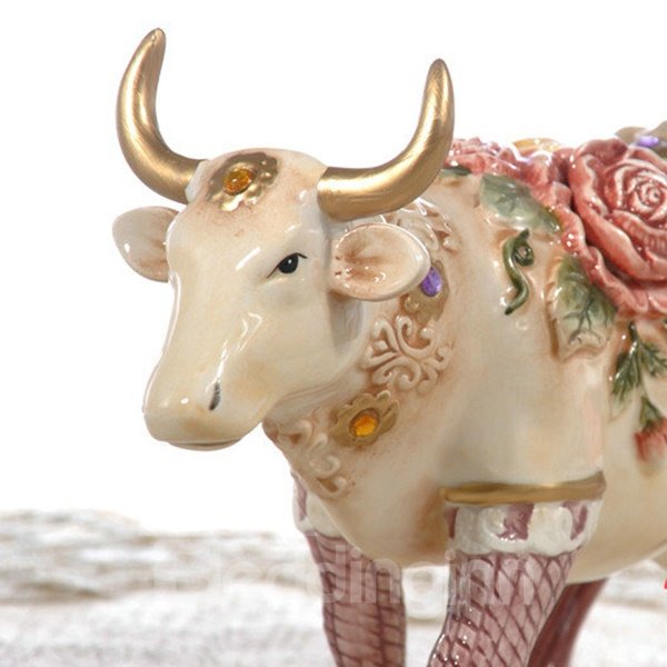 Pretty Ceramic Flower Cow Shape Desktop Decoration Painted Pottery