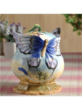 Creative Ceramic Butterfly Snack Storage Painted Pottery