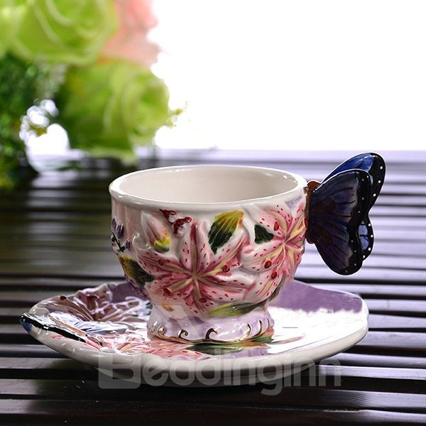 Excellent Style Ceramic Lily Pattern Coffee Cup and Plate Painted Pottery