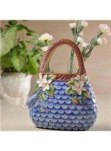 Blue Creative Ceramic Handbag Shape Painted Pottery