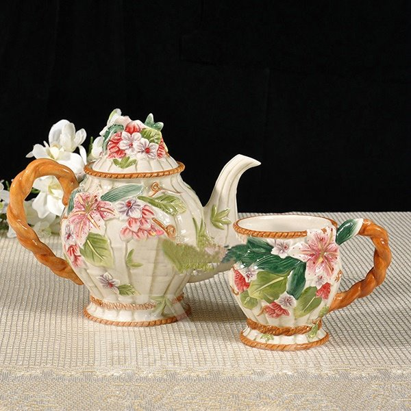 Ceramic Lily Pattern Teapot and Cup Painted Pottery