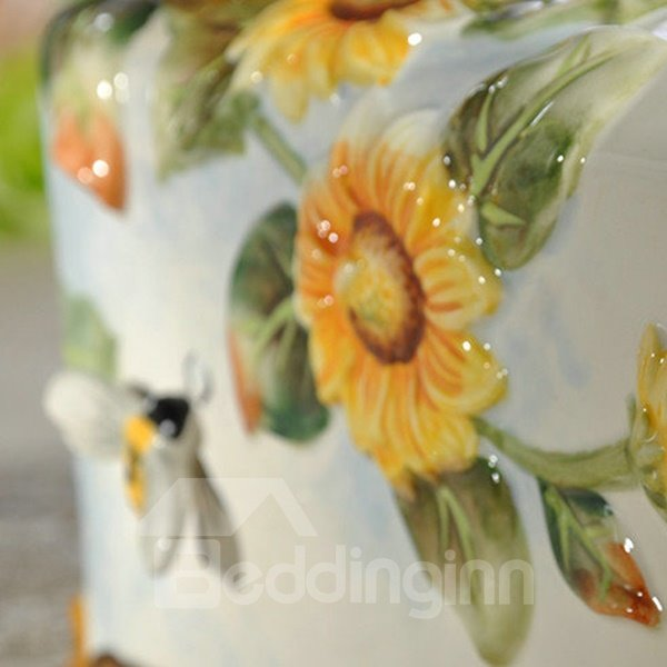 Modern Simple Ceramic Sunflower Pattern Painted Pottery