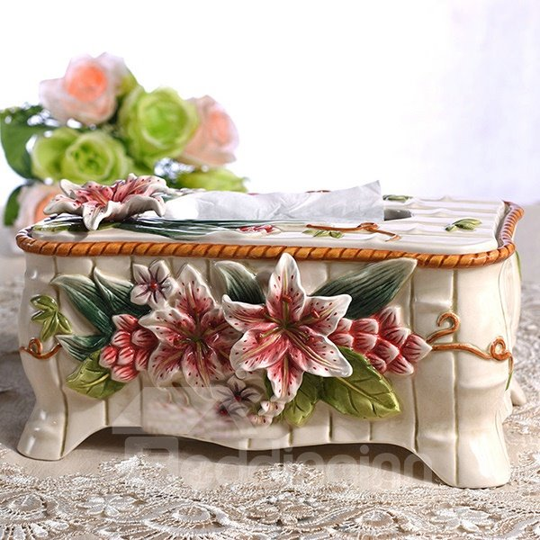 Beautiful Ceramic Lily Pattern Tissue Box Painted Pottery