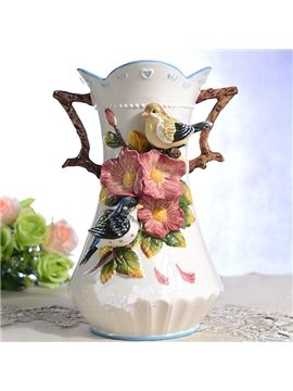 Romantic Love Birds Pattern Ceramic Flower Vase Painted Pottery