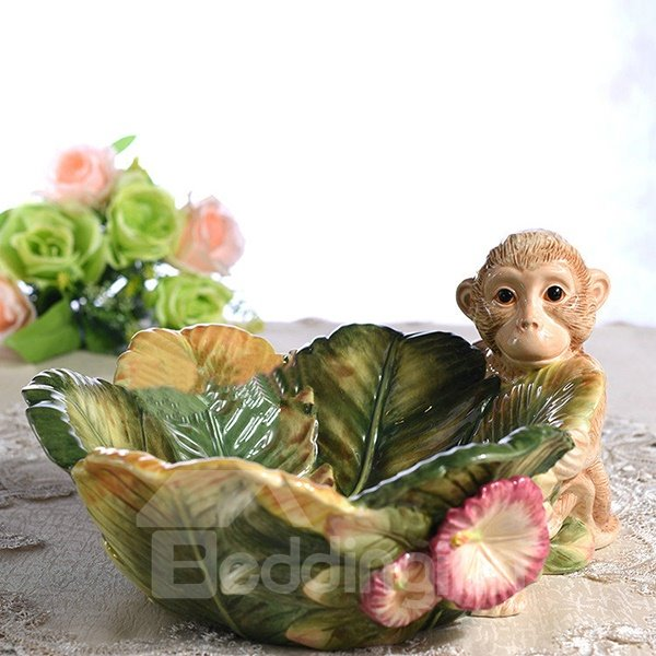 Cute Ceramic Monkey Pattern Fruit Plate Painted Pottery