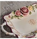 Glamorous Rectangle Flower Pattern Fruit Plate Painted Pottery