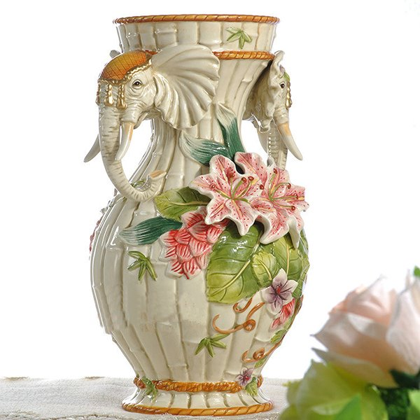 Unique Elephant Heads and Flowers Pattern Flower Vase Painted Pottery