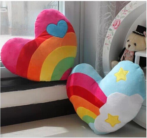 Sweet Rainbow and Cloud Spliced Heart Shaped 2 Pieces PP Cotton Throw Pillow Sweet Rainbow and Cloud Spliced Heart Shaped 2 Pieces PP Cotton Throw Pillow