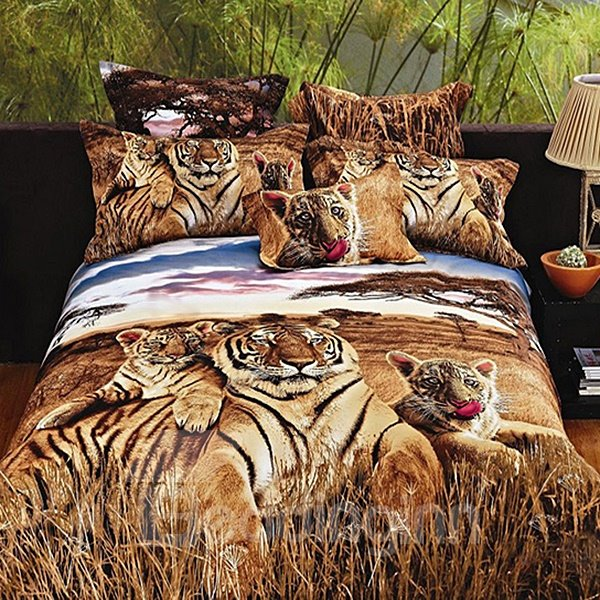 Vivid Tiger Reactive Printing Pure Cotton 3D Fitted Sheet