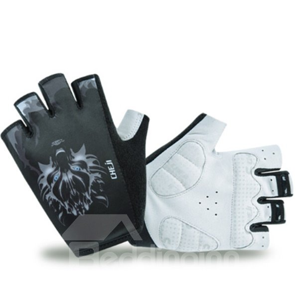 Male Black Wolf Breathable Anti-Slip Durable Mountain Bike Road Bike Cycling Gloves