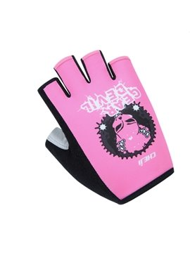 Female Pink Skull Graffiti Mountain Bike Road Bike Anti-Slip Durable Cycling Gloves