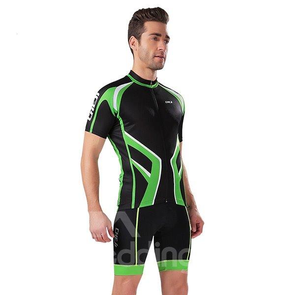 Male Black Breathable Short Sleeve Road Bike Jersey Full Zipper Cycling Bib Suit