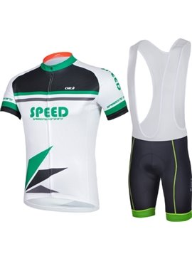 Male Green Breathable Short Sleeve Jersey with Full Zipper Cycling Bib Suit