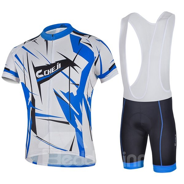 Male Abstract Road Bike Jersey with Full Zipper Cycling Bib Shorts Suit