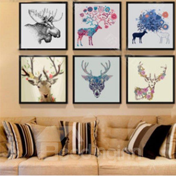 Modern Simple Northern Europe Elk Pattern Wall Art Print