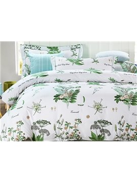 Pastoral Style Green Jacobean Pattern 4-Piece Cotton Duvet Cover Sets