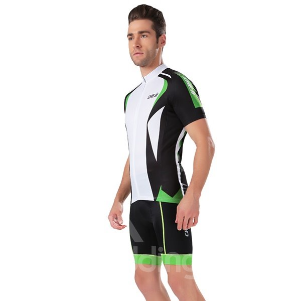 Male Streamline Breathable Short Sleeve Jersey with Full Zipper Quick-Dry Cycling Bib Suit