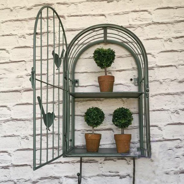 Green Iron Birdcage Shape Flower Shelf Decorative Wall Decoration